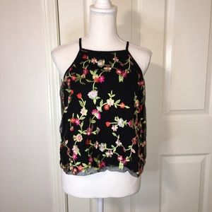 Ambiance Cropped Embroidered Tank